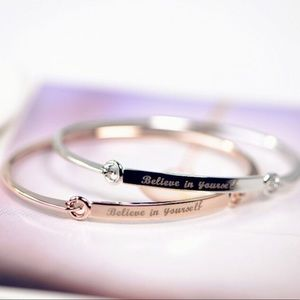 """Believe in yourself"" skinny bracelet"